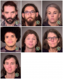 The seven adults that were arrested Monday in Portland